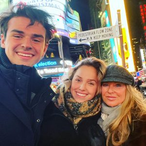 With his mom, Christina, and sister, Olivia, Times Square, NYC