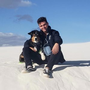 With Bear, White Sands, New Mexico