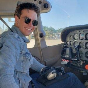 Taking a solo flight for his pilot's license, Camarillo, CA